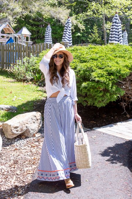 St Barts Embroidered Wrap Skirt with UV 50+ protection, Grayson Hero Button Up, Woven Cooler tote and Summer hat - Bump Friendly and Sun Protective  http://liketk.it/3gBMe #liketkit @liketoknow.it #LTKswim #LTKstyletip
