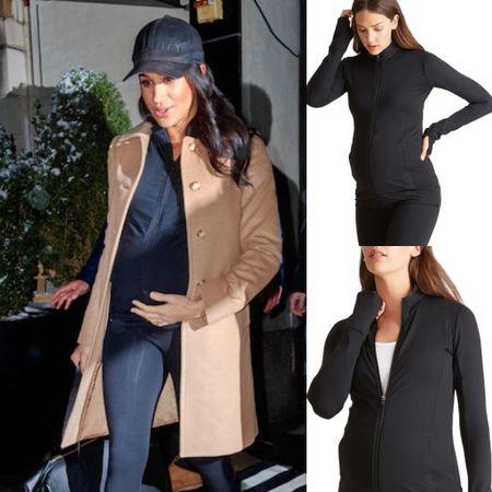 Meghan wearing Ingrid & Isabel #maternity #jacket #exercise   #LTKstyletip