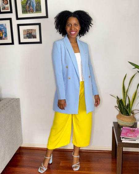 Spring into style with this pastel blue blazer and yellow culottes! http://liketk.it/3bljl #liketkit @liketoknow.it #LTKunder50