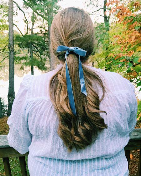 dusty blue velvet ribbon pairs perfectly with a white embroidered shirt! http://liketk.it/31HvV #liketkit @liketoknow.it #LTKcurves #LTKunder50