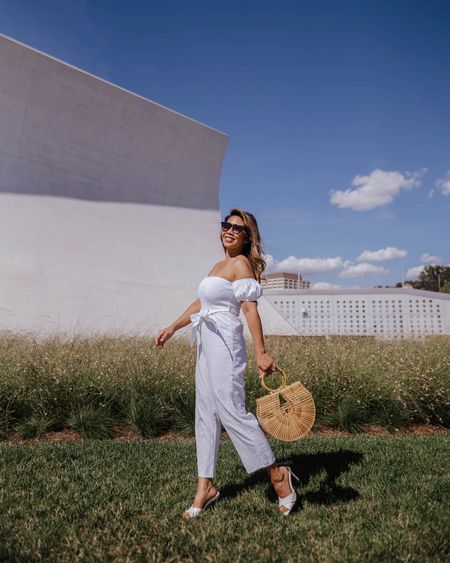 This all cotton jumpsuit is now 35% off!  This pull-on styling has elasticized neckline and mini puff sleeves!  Add a blazer for that extra polished look with these cute slip on sandals or a denim jacket and flats or sneakers for a more laid back feel. http://liketk.it/2SZQp @liketoknow.it #liketkit #LTKsalealert #LTKstyletip #LTKunder50 #LTKunder100 #LTKitbag #LTKshoecrush Download the LIKEtoKNOW.it app to shop this pic via screenshot