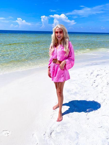 Pink two Piece set size M  Swimsuit coverup  Beach outfit, lounge set  Pink sunglasses  #LTKunder100 #LTKtravel #LTKswim