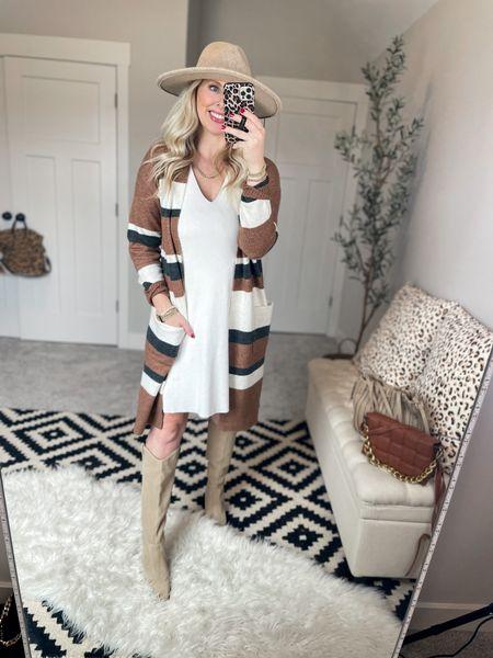 Striped cardigan 50% off - small White dress- small    #LTKunder50 #LTKstyletip #LTKsalealert
