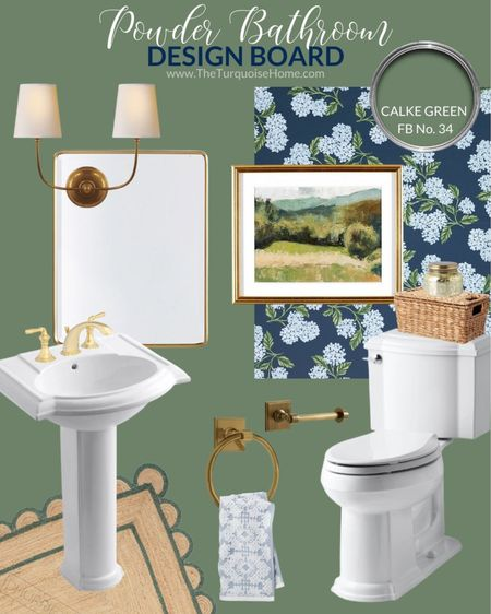 Let the powder room be the show stopper! I've got big colorful plans for our powder bathroom. A beautiful sage green, navy hydrangea wallpaper and brass accents make my hart go putter patter! . If you have a powder room, does it make a statement? .  #traditionalbathroom #bathroom #bathroommakeover #bathroompic #roommakeover #makeovers #roominspiration #bathroominspo #mybhg #countrylivingmag #smploves  #ltkhomedecor #bathrooms #bathroomgoals #LTKhome
