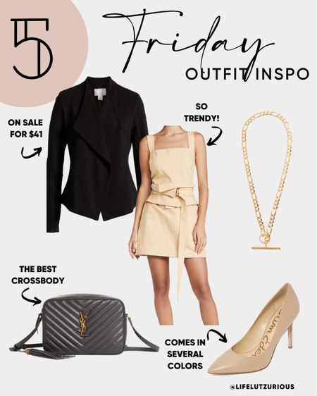 Friday OOTD - outfit of the day, fall fashion, fall outfit inspiration, workwear outfit, blazer, crossbody, nude heels   #LTKshoecrush #LTKSeasonal #LTKstyletip
