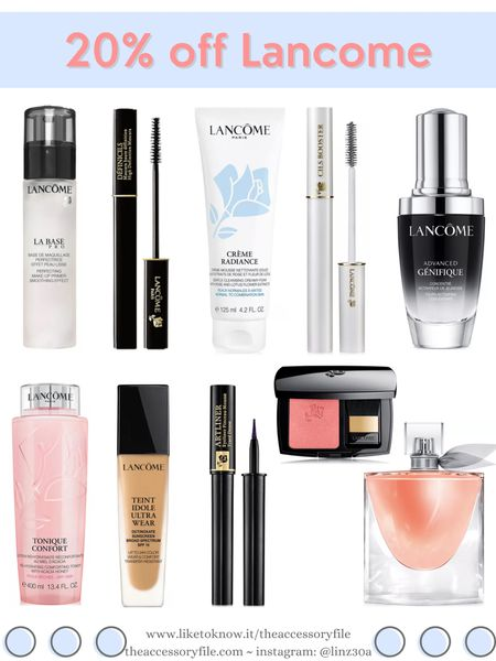 20% off Lancome  Makeup primer, La Base, definicils mascara, waterproof mascara, lash primer, mascara primer, genifique facial serum, toner, teint idole ultra wear foundation, liquid eyeliner, blush, la vie est belle perfume    http://liketk.it/3i8aY #liketkit @liketoknow.it #LTKsalealert #LTKbeauty #LTKunder100