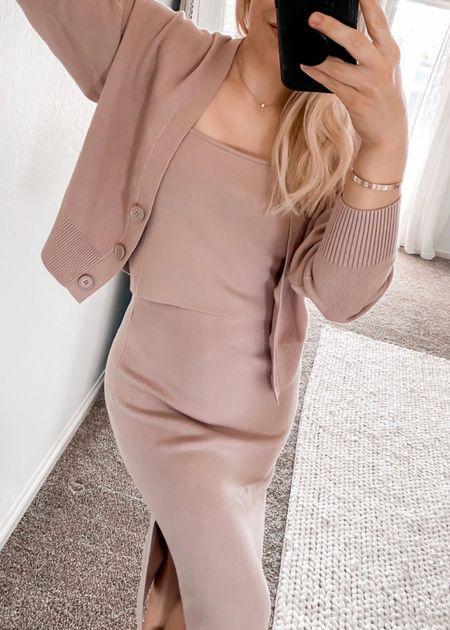 Fall Cardigan, Blush Fall Outfit, Cami, Skirt, Express Fashion Finds  #LTKunder50 #LTKSeasonal