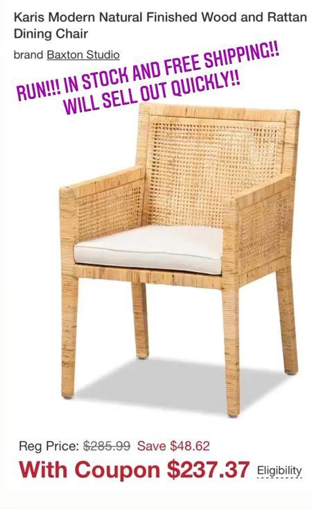 Favorite rattan dining chair on sale and free shipping   #LTKstyletip #LTKsalealert #LTKhome