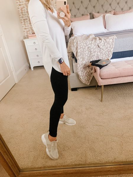 I love how the shirttail hem elongates the look of your leg and doesn't cut you off across the side.  These leggings are the high waist Daily Ritual brand that comfortably holds in your tummy for a smooth shape.     #LTKstyletip #LTKsalealert
