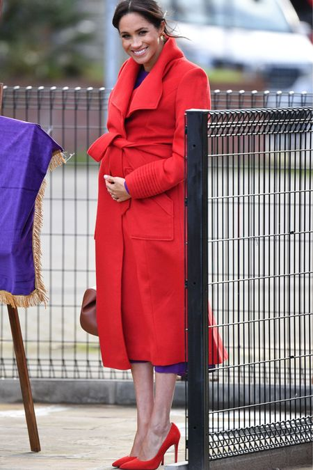 The Duchess today ❤️❤️❤️ 1.14.2019 while visiting Berkinhesd with Harry to meet with local organizations. While red isn't my favorite color and I currently have none in my closet, this coat (the same one she wore in Camel for her first Christmas with the Royal family but before she was officially Royal in 2017), this is lovely with the purple. ❤️💜❤️💜❤️💜 I will get a blog post up with similar looks to this one, all $200 and under. But I have linked 16 look alike red coats, all $200 and under, with my favorite one being under $100 and the most similar being just a little over $100, using the free @liketoknow.it app. Follow me on the LIKEtoKNOW.it app to get the product details for this look and others http://liketk.it/2zkgY #liketkit