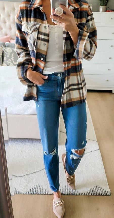 Fall outfit, Jean are 25% off | Mom Jeans| Plaid Shacket | Booties | Fedora  #LTKsalealert #LTKshoecrush #LTKSeasonal