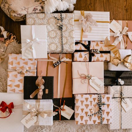 brown paper packages tied up with strings, but make it 📦✨🎀🏷🖤🧁  my gramps taught me how to wrap, and still to this day wrapping makes me so happy because I always think of him as I'm doing it. he would get out a yardstick to make sure each cut was perfectly straight, meticulously match the print on the underside, and make a tag out of wrapping paper placed just so on the package that it blended right in. 👌🏼  screenshot this pic to get shoppable product details with the LIKEtoKNOW.it shopping app! http://liketk.it/3450g #liketkit @liketoknow.it #LTKgiftspo #LTKhome #LTKfamily