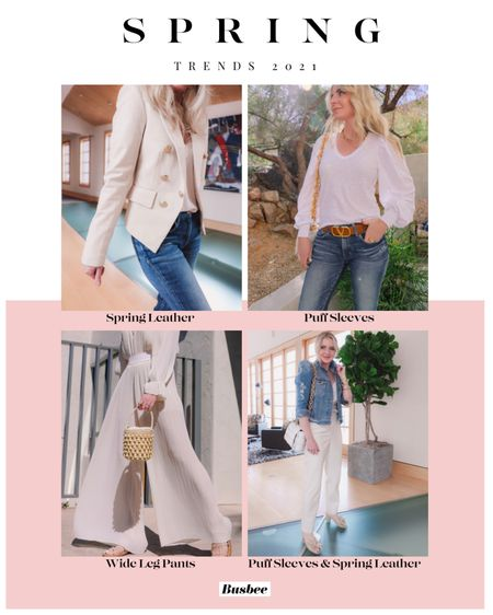Spring fashion trends... YAY!!!  Which trend is your favorites??? #1 Spring Leather #2 Puffy Sleeves or #3 Wide Leg Pants   ~Erin xo   #FashionOver40 #SpringFashion #SpringFashionTrends #SpringTrends2021   #LTKSpringSale #LTKitbag #LTKstyletip   http://liketk.it/3aSUe #liketkit @liketoknow.it
