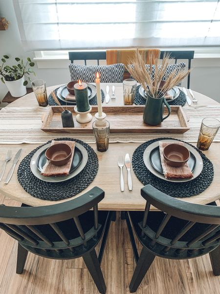 Warm tones + crisp black accents + textured layers = cozy, inviting style for your next dinner party!  #LTKSeasonal #LTKhome #LTKunder50