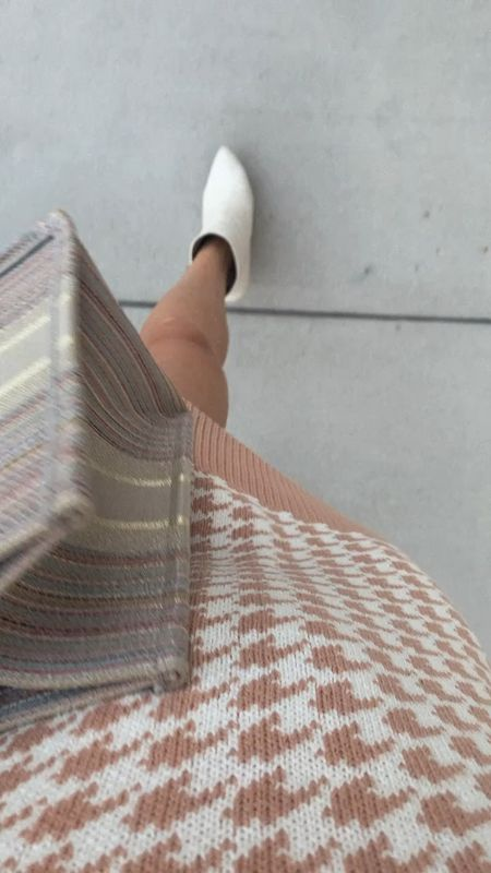 Sweater dress, herringbone, white boots, fall outfit   #LTKunder100 #LTKSeasonal #LTKstyletip