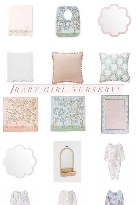Baby girl nursery #Baby #Nursery #Girls #GirlsRoom #Swaddle #ScallopedMirror #Raton #BabyOnesies #Footes #Pillows Caitlin Wilson Design #caitlinwilson #rugs #kidsrugs #grandmillennial