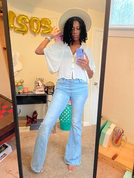 Cream fedora + White flowy button down + Flare jeans (high rise)  #LTKstyletip #LTKSeasonal #LTKunder100