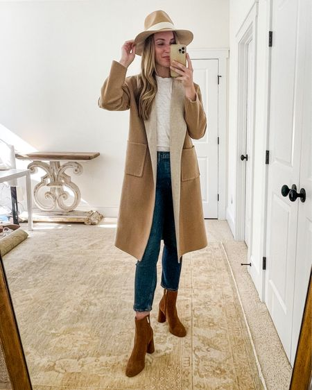 Fall Essentials Outfit wearing Eileen Fisher cardigan coat (exact and similar linked, runs large), ATM cotton tee, adjustable wool hat, AGOLDE jeans (true to size), and Joie Booties (almost sold out, similar linked).  For more fall wardrobe essentials and simple fall outfit ideas mixing and matching them, visit natalieyerger.com!