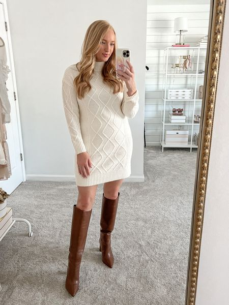 Gorgeous white sweater dress. Wearing a small with leather knee high boots (tts)