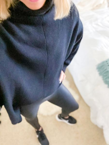 Cozy black batwing sweater. I front tucked it in this pic but also wear it untucked too.    Sweater has asymmetric hem and comes in other colors.  Oversized fit but true to size - seen in small.  I love it so much I also bought in white and wouldn't mind adding even more colors to my collection:)  Faux leather leggings in small petite  Sweater would also make a great gift idea for your mom, mother in law, sister , or friend for Christmas.     Sweater , amazon sweater , turtleneck sweater , amazon fashion , amazon finds, Spanx , spanx faux leather leggings , batwing sweater , oversized sweater , fall fashion , fall trends , fall style , #ltkgiftguide #ltkholiday , gift idea , gift guide , gifts for her , gifts for mom #ltkstyleetip  #LTKSeasonal #LTKunder50 #LTKGiftGuide