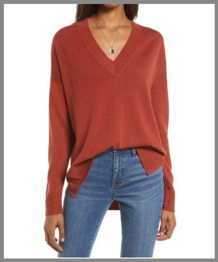 Cozy v-neck sweater with a high low hem. Nice long sleeves.  . . knit sweater, pullover sweater, long sleeve sweater.  #LTKSeasonal #LTKsalealert #LTKunder50
