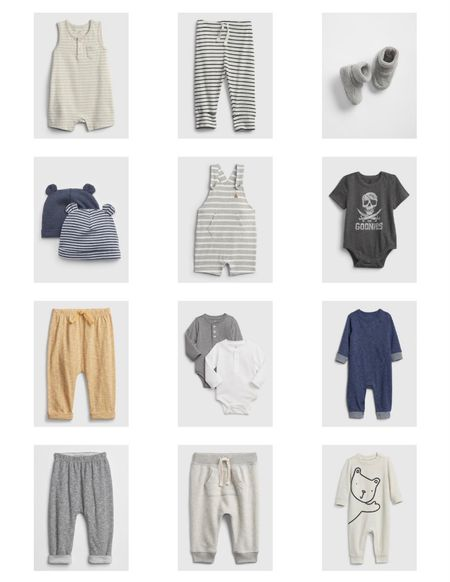 """Gap has THE cutest baby clothes… I swear 🖤 they're having a huge sale! So many items are 50% off Oreo to 75% with code """"GREAT"""" - anddd I may already own all these pieces for James 😆   #LTKsalealert #LTKbump #LTKbaby"""