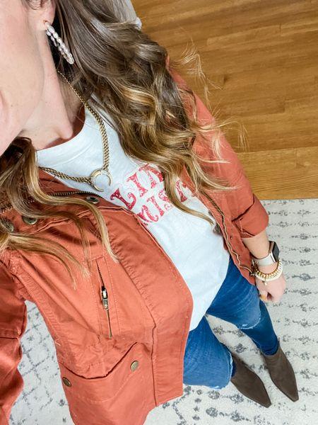 Fall Jacket Graphic Tee Ankle Boots  Pull on Jeans   #LTKunder100 #LTKshoecrush #LTKunder50