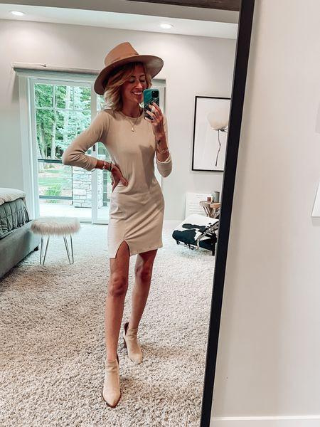 Nordstrom sale outfit Tan runs dress runs true to size  Suede ankle booties and cute fall hat   #LTKstyletip #LTKshoecrush #LTKsalealert