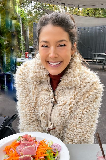 This adorably fuzzy cropped jacket kept me warm during my socially distanced date! Thanks, @anthropologie !   #LTKunder100 #StayHomeWithLTK #LTKFall