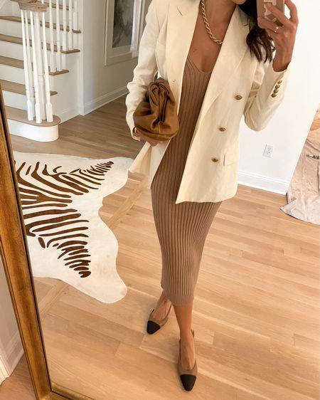 Blazer, knit dress and Chanel slingbacks. #blazer #mididress  #LTKshoecrush #LTKworkwear