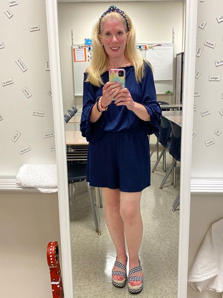 Anther day of teacher preparation for the new school year. Today I wore a stretchy navy romper and gingham wedge sandals, paired with a jeweled denim headband.   #ltkteacher #ltkromper #ltksummer  #LTKstyletip #LTKshoecrush