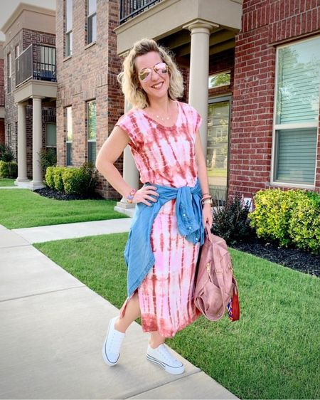 Another fun summer dress... I hope the tie dye trend stays a while! True to size, this $20 midi-dress is also available in EIGHT prints, some more subtle if that's more your speed. Some of my InstaFriends have joined me to share their Midi-Dresses, be sure to check out stories, because there's a chance to win drinks on us!    #LTKstyletip #LTKunder50 #LTKunder100
