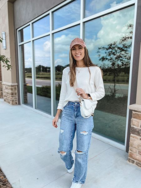 Walmart outfit. Baggy jeans. Waffle knit top.  #casualstyle #walmartfashion #walmartfinds #walmartjeans #timeandtru #saddlebagpurse #hat #casualoutfit #ltkunder20 #ltkunder30 #waffleknittop #baggyjeans  **sizing: top: small, I sized up a size | jeans- 5, run a little small for me (I'm normally a 2 in women's & a 3 -5 in juniors | sneakers- 8 |   #LTKstyletip #LTKunder50 #LTKSeasonal