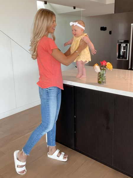 My daily mom uniform is a t-shirt and jeans, and I'm loving all the bright spring colors out now! I've linked this shirt (on sale!) and several of my favorite t-shirt styles in this pretty coral color. These also are the comfiest jeans for running errands or chasing the kiddos around!  #LTKbaby #LTKfamily #LTKunder50