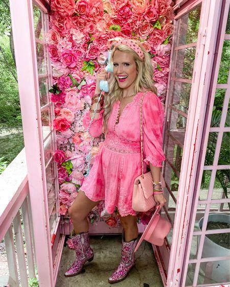 LoveShackFancy fancy dress - linked similar size 8!  Can't link cowboy boots  Amazon pink headband  Pink fedora  Pink quilted purse  Pink bracelet stack -20% off until this Friday!    http://liketk.it/3jJLb #liketkit @liketoknow.it #LTKsalealert #LTKstyletip #LTKunder50