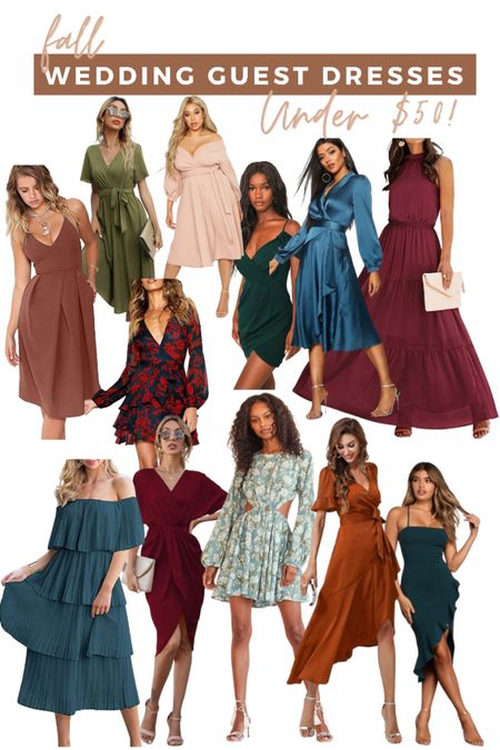 Fall wedding guest dresses under $50! So many cute amazon finds and fall dresses   #LTKsalealert #LTKunder50 #LTKwedding
