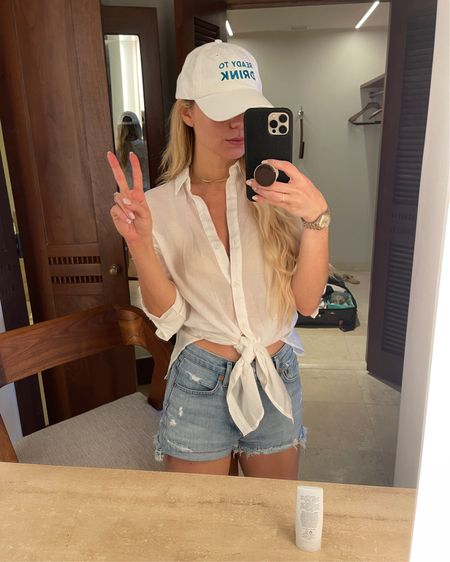 Agolde Parker, cutoff shorts, agolde denim, agolde jean shorts, white button down, vacation style http://liketk.it/3emPe #liketkit @liketoknow.it #LTKtravel #LTKunder50 #LTKstyletip