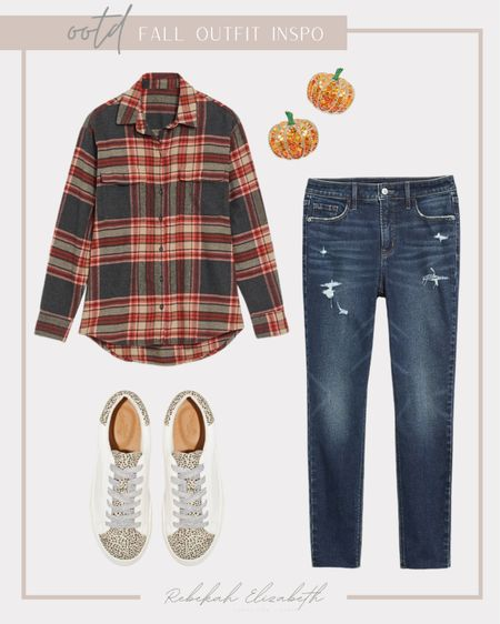 Plus size fall plaid outfit 🍁🍂 #rebekahelizstyle  #LTKunder50 #LTKstyletip #LTKcurves