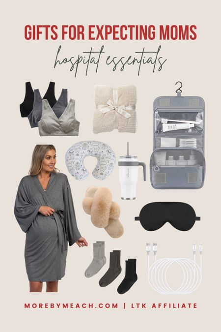 Christmas Gift Guide - Gifts for Expecting Moms! These maternity hospital bag essentials are much needed and greatly appreciated! Click to shop. 🤍 || cozy blanket, nursing bras, maternity robe, women's slippers, toiletry bag, insulated water cup, satin sleep mask, cozy socks   #LTKbaby #LTKbump #LTKGiftGuide