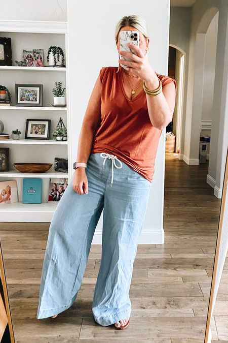 Love these wide leg pants and top from the Loft! Super affordable on sale and such a cute work or play outfit.   #LTKstyletip #LTKSale #LTKunder50