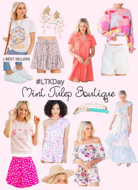 Mint Julep Boutique (Shop The Mint) LTK Day sale preview. SAVE your favorite items today and SHOP tomorrow 6/11 through 6/14. Graphic tee, summer shorts, white sneakers, summer dress, printed blouse, romper, fedora hat, bracelet stack. http://liketk.it/3hg9x @liketoknow.it #liketkit #LTKDay #LTKsalealert #LTKunder50 #LTKunder100 #LTKstyletip