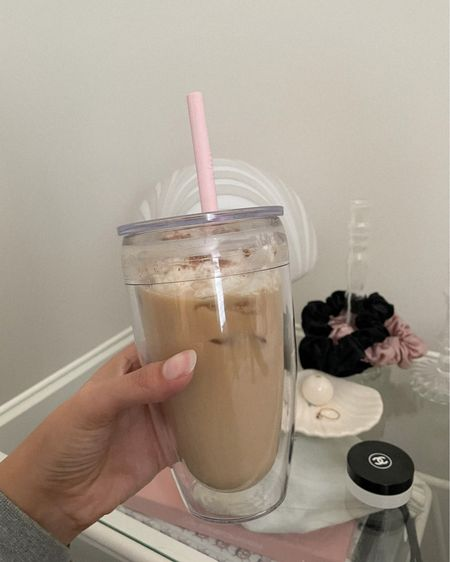 My new cup for my iced drinks is so cute, im obsessed!! I love the look of a clear cup and this one has a double wall so it doesn't sweat ☕️🖤  #LTKHoliday #LTKGiftGuide #LTKSeasonal