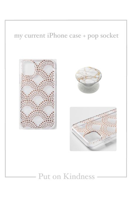 Clear and gold polka dots iPhone case. White marble pop socket.