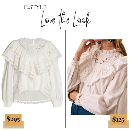 """Who doesn't love a good high/low comparison?! I see them all the time while shopping, so we decided to start a new series called """"Love the Look!"""" If you subscribe to the blog, you've already seen this, but JICYMI- When I was shopping at Saks with a client recently, I saw the top on the left (swipe right). It looked almost identical to a top I'd recently purchased and worn, so I had to share! P.S. If you guys have any high/lows, dupes, steal vs. splurges you care to share, I'd be grateful! Send me a message!  Follow my shop @cstyleblog on the @shop.LTK app to shop this post and get my exclusive app-only content!  #liketkit  @shop.ltk http://liketk.it/3qr19 #cstyleLTL    #LTKstyletip"""