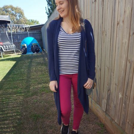 Quick and easy striped tee and jeans outfit for the other week back in lockdown, getting out of PJ's and loungewear to grab some bread 💙💕 you can't go wrong with a striped tee and jeans although the navy waterfall cardigan may have been a bit of overkill as it was warmer than expected.  Wore my little blue Rebecca Minkoff mini MAC as didn't need to carry more than the essentials. Tent in the background what my kids had decided to make for their lockdown entertainment that day 😅  ---------------- -------------- -------------------------- ------------------ ------------------------------  Screenshot this pic to shop the product details from the @liketoknow.it app, or click here: http://liketk.it/3mehs #liketkit #LTKitbag #LTKaustralia #everythingLooksBetterWithABag #everydaystyle #realeverydaystyle #wearedonthestreet #realmumstyle #nevervainalwayscolour #mumlife #jeansandtee #winterstylefile