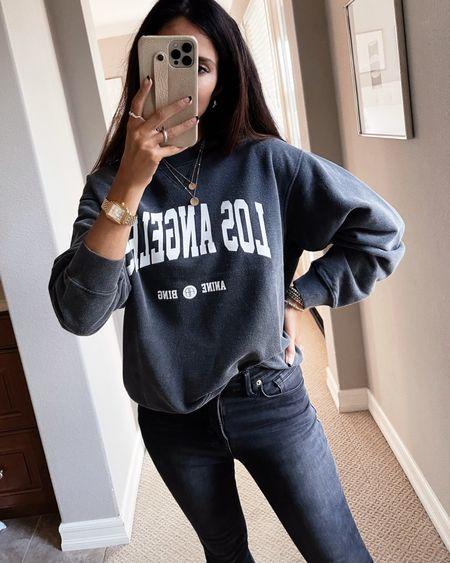 Wearing a size small sweatshirt, everyday style, comfy casual., sweatshirt, jeans, StylinByAylin   #LTKunder100 #LTKstyletip