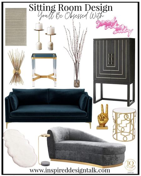 Living room update with modern home decor. Neon light, navy velvet sofa, couch, living room decor, living room inspiration, side table, wallpaper, bar cabinet, candles, wall sconce.  You can instantly shop my looks by following me on the LIKEtoKNOW.it shopping app   #LTKhome #LTKstyletip #LTKbeauty