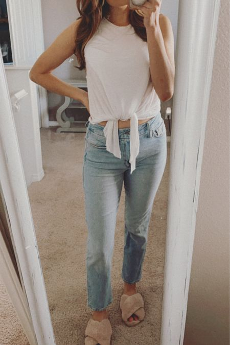 White tee and jeans kinda day and fluffy slippers too!  Jeans: Good American  Too: LA Made Clothing  Slippers: Amazon   @liketoknow.it http://liketk.it/3f15Q #liketkit #LTKunder100 #LTKstyletip #LTKshoecrush