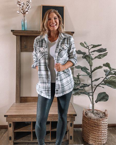 Plaid shacket / white tank top / Spanx faux leather leggings / beige booties / initial pendant necklace #LTKunder100 #LTKsalealert #LTKstyletip