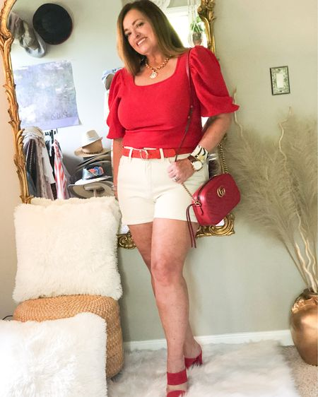 Ecru denim shorts..... oh let me count the easy ways to style this versatile color. First I am Going to pair it with Red! This blouse is under $12.00 and I absolutely love it! Follow me on the Liketoknowit app for all my outfits deets. . . . . . .  http://liketk.it/3dlx9 #LTKshoecrush #LTKitbag #LTKcurves #liketkit @liketoknow.it.family @liketoknow.it Shop my daily looks by following me on the LIKEtoKNOW.it shopping app